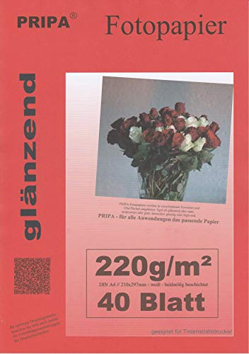 pripa BEIDSEITIG 40 Blatt Fotopapier Photopapier A4 220g/qm - beidseitig glossy (glaenzend) - sofort trocken - wasserfest - hochweiß - sehr hohe Farbbrillianz fuer InkJet (Tinten) - Drucker