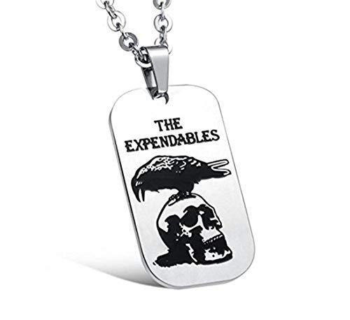Collier Keybella avec pendentif pour hommes, pendentif, cha?ne 55cm, crane plaque militaire, Dog Tag Style arm¨¦e, alliage, argent