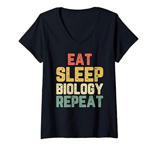 Mujer Eat Sleep Biology Repeat Biología Biólogo Vintage Camiseta Cuello V