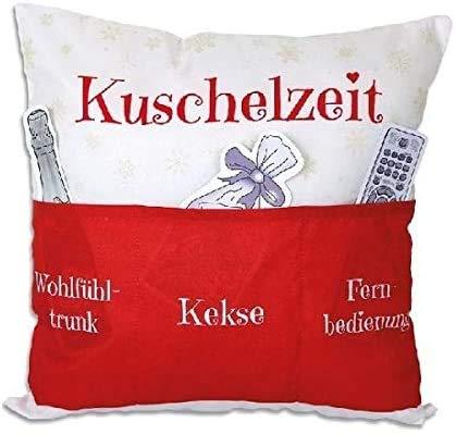 Kamaca Originelles Dekokissen Kissen mit 3 Taschen zum selber Befüllen Größe 43x43 cm tolles Geschenk für EIN gelungen Sofaabend Filmabend Öko Tex (Kuschelzeit)