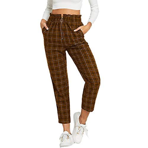 Pantalones para Mujer Otoño Invierno 2018 Moda PAOLIAN Casual Pantalones Vestir Cintura Alta Estampado Cuadros Pantalones de Pinza Uniformes de Trabajo Suelto con Cremalleras señora