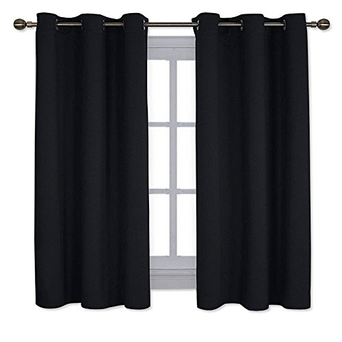 NICETOWN Pitch Black Solid Thermal Insulated Grommet Blackout Curtains/Drapes for Bedroom Window (2 Panels, 42 inches Wide by 63 inches Long, Black)