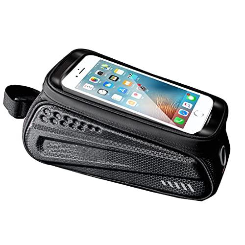 DOLA Bolsa de marco frontal para teléfono de bicicleta, bolsas de manillar de tubo superior, bolsa de ciclismo con cremallera de almacenamiento impermeable, gran capacidad con pantalla táctil