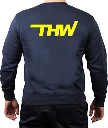 FEUER1 Sweatshirt Navy THW Komb. mit Zahnrad Neongelb S