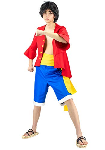 DAZCOS Adult US Size Anime Monkey D Luffy Red Outfit Cosplay Costume (Large)
