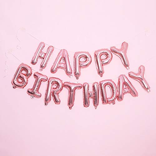 Happy Birthday Balloon Rose Gold Banner - 3D Inflatable HappyBirthdayDecorations and birthday Decorations for Men/Women, Birthday Party Supplies, Reusable, Ecofriendly Fun