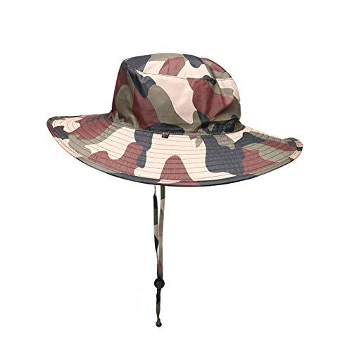 WASHULI Pesca en la Selva Camuflaje Anti-Salpicaduras Sombrero del Verano de los Hombres al Aire Libre del Sombrero de Sun Pesca de Altura Alero Protector Solar Pescador Sombrero (Color : A)