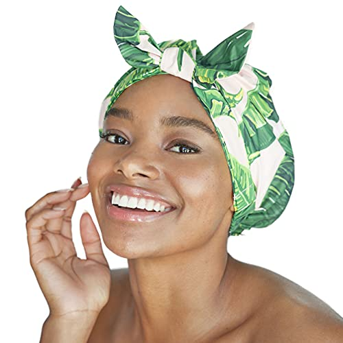 Kitsch Luxury Shower Cap for Women - Waterproof, Fashionable, Reusable Shower Cap for Long Hair (Palm Leaves)
