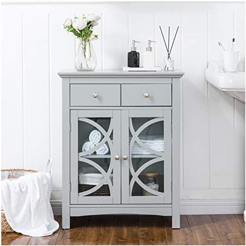 Glitzhome 32.5 Inch Free Standing Storage Cabinet Wooden Floor Cabinet Accent Display with Double Doors and Drawer Bathroom Furniture Grey