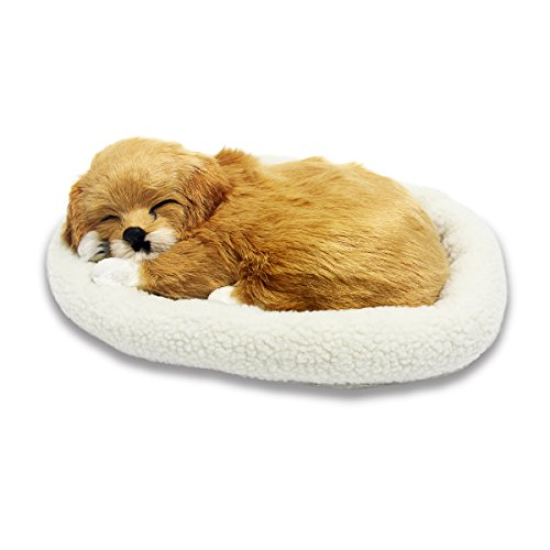 Signstek Emulation Sleeping Breathing Dog Toy Pet with Woolen Bed