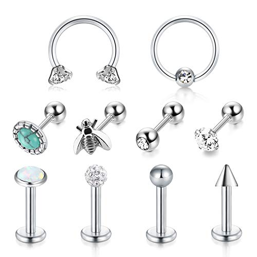 LAURITAMI 10 pcs Helix Cartilage Tragus Studs Ring Hoops 6mm 16G Surgical Steel Earring Bars Piercing Jewellery CZ