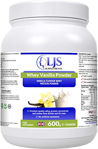 LJS Supplements Whey Vanilla Powder - Premium Quality Protein Powder - for Bodybuilders - Athletes - Tissue Repair - Maintain Lean Mass - Increased Protein Intake - Made in UK.