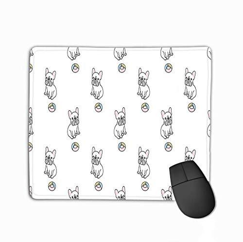 Rechteck rutschfeste Gummi Mousepad Hund Französisch Bulldogge Spielzeug Schal isoliert Cartoon Wiederholung Wallpaper Fliesen Hintergrund Gekritzel niedlichen Hund klein