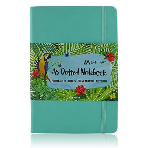 Lani Art Dotted Bullet Journal - Cuaderno A5, diseño de lunares, tapa dura, papel premium de 120 g/m², cuaderno de notas de piel sintética a cuadros (turquesa)