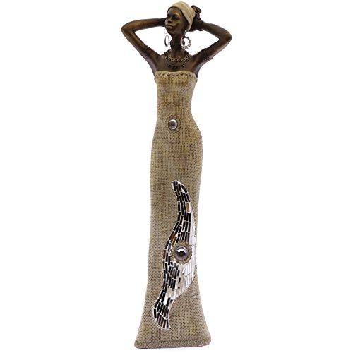 Supernova Decoracion Statuetta africana resina finitura argento/oro con applicazioni di vetro collezione _ 11x 7x 45cm