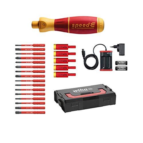 Wiha SpeedE® - Juego de destornilladores eléctricos (25 piezas, en L-Boxx Mini con puntas slimBits, adaptadores easyTorque, baterías y cargador europeo)