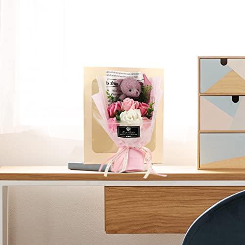 Mokyler Ramo de flores artificiales, ramo de rosas de una docena de rosas creativas con bonito oso para aniversarios, bodas, cumpleaños (rosa, 30,6 cm)