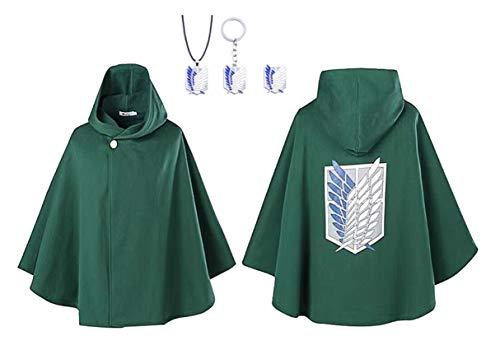 TopOneer Anime Attack On Titan AOT Shingeki No Kyojin Cosplay Cloak Cape Costume Merch Jacket Coat Robe Outfit Halloween for Women Men Adult Kid (Green)