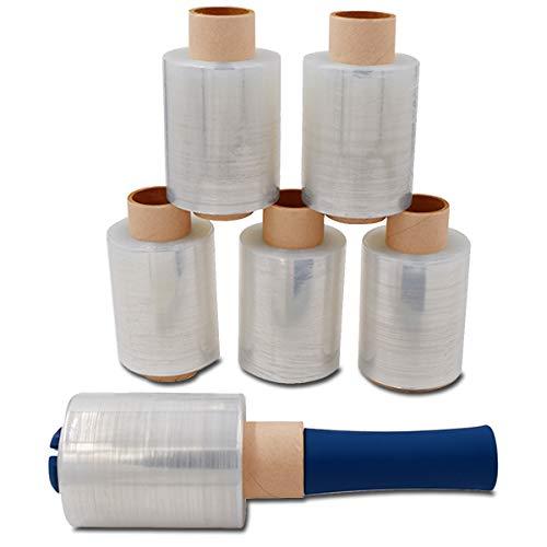Verpacking Mini-Stretchfolie 23my stark 100mm x 150m 6 Rollen + 1 Abroller reißfest, dehnbar & zuverlässig