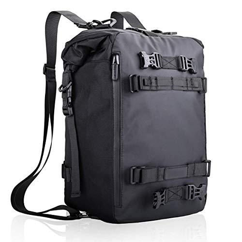 Bluetooth earphone 20L Waterproof Motorbike Rear Rack Pannier Motorcycle Saddlebag Tank Bag Shoulder Backpack Camping Cycling Storage for Hiking, Adventure, Outdoor Play (Color : Black)