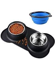 Bonve Pet Miska dla psów, 2 x 400 ml, miska dla psów i kotów, stal nierdzewna, miska na karmę z antypoślizgowym silikonem