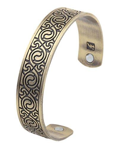 Pulsera magnética para el cuidado de la salud, estilo étnico, estilo vikingo, brazalete para hombres (bronce antiguo)