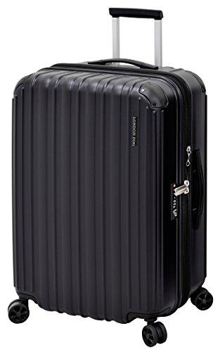 LONDON FOG Heathrow Hardside Expandable Spinner Luggage, Black, Checked-Medium 25-Inch