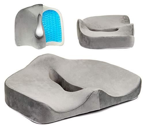 Tektrum Orthopedic Cool Gel Enhanced Seat Cushion, Gel Memory Foam Coccyx Cushion for Back Pain, Sciatica, Tailbone, Prostate, Sitting Long Hours - Office, Home, Car, Plane, Wheelchair (TD-02NJ-GREY)