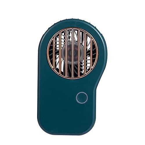 Mini Ventilador De Mano, Ventilador de Collar de 3 velocidades de conmutación, Compatible para Viajes de Oficina en casa al Aire Libre, Carga USB, batería incorporada 800mAh (Color : Green)