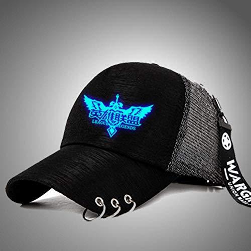 youjiu Gorra de béisbol de Moda Sombrero de Malla Sombrero Sombrero Luminoso Versión Coreana de la Marea Moda Femenina @ bluebottom_League of Legends_tiehuan Net Cap Ajustable