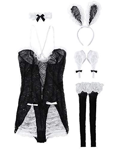 MSemis Disfraz Conejito Sexy para Mujer Conjunto Lencería Encaje Mini Vestido Transparente Disfraz Señorita Conejita Traje Conejito Orejas Collar y Pulseras Noche Despedida Negro Talla Única
