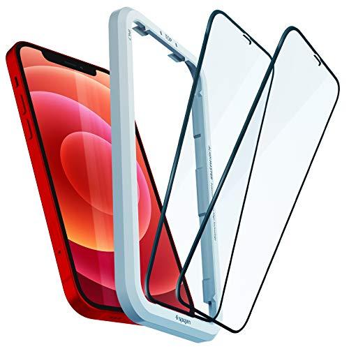Spigen AlignMaster Panzerglas kompatibel mit iPhone 12, iPhone 12 Pro, 2 Stück, Volle Abdeckung, Kratzfest, 9H Härte Schutzfolie