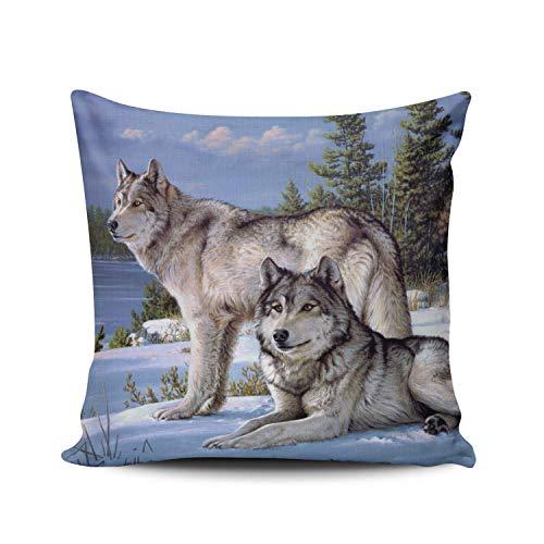 GOSMAO Funda de Almohada Dos Lobos Azules en Invierno Siberiano Personalizado Algodón Lino Throw Pillow Case Funda de Almohada para Cojín 45x45 cm