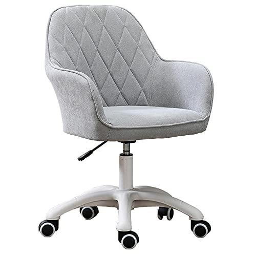 Ergonomischer Schreibtisch-Drehstuhl mit Armlehnen, Stoff, Heimbürostuhl, Kosmetikstuhl, Computerstuhl für Heimbüro, Spiel, höhenverstellbar, Grau