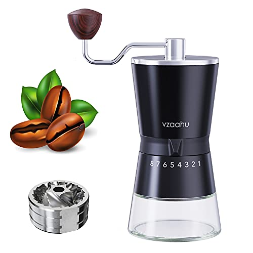 Vzaahu Manual Coffee Grinder with Stainless Steel Conical Burr - Capacity 70g, 15 Adjustable Setting, Portable Travel Hand Coffee Bean Mill for Aeropress, Drip Coffee, Espresso, French Press