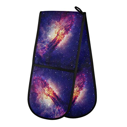 TropicalLife JNlover 3D Galaxy Outer Space Double Oven Glove Heat Resistant Oven Mitt Comfortable Kitchen Mitts for Grilling, Cooking, Baking, Microwave