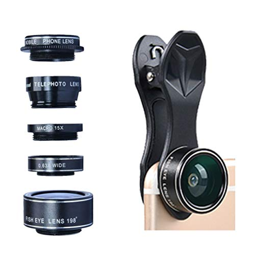 Cell Phone Camera Zoom Lens Kit - HD 5-in-1 Telephoto, Wide Angle, Fish Eye, Macro & CPL Polarizer, Clip-on, for Apple iPhone, Samsung & Other Smartphones