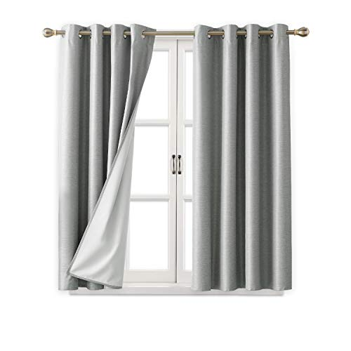 Deconovo Light Grey Complete Blackout Curtains Room Darkening Thermal Insulated Grommet Top Window Panel Drapes with Coated Lining for Bedroom 52W x 63L Inch 2 Panels