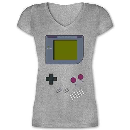 Nerds & Geeks - Gameboy - M - Grau meliert - 90er Shirt Damen - XO1525 - Damen T-Shirt mit V-Ausschnitt