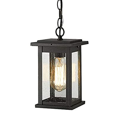 Emliviar Outdoor Pendant Lights for Porch, 1-Light Exterior Hanging Light Fixtures, Black Finish with Seeded Glass, 1803EW1-H