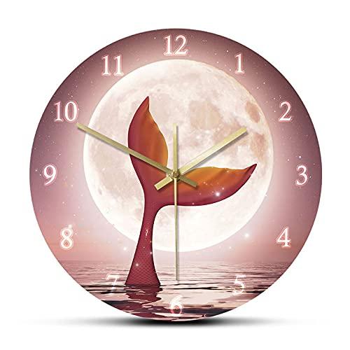 Tqbluq sotto la Luna Piena sopra Il Mare Rosa Orologio da Parete Decorazione Orologio Ragazza fiaba casa Orologio da Parete