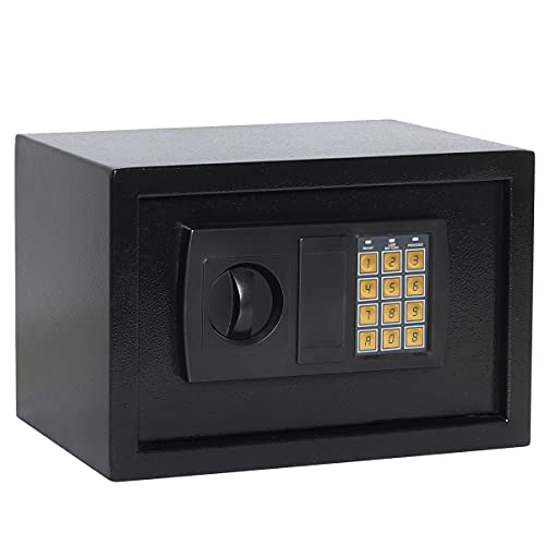 Parrency Digital Safe For Home,Protect Money, Jewelry, Passports,Electronic Steel Safe with Keypad, Business or Travel,12.2x7.8x7.8 inches, Black