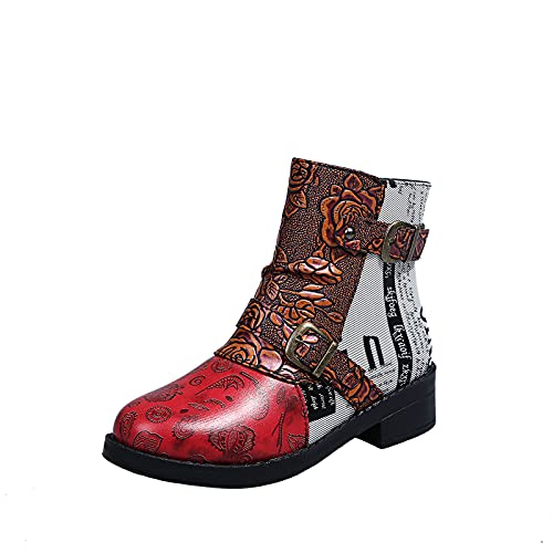 Women Vintage Ankle Boots Ladies Steel Toe Cap Safety Booties Leather Canvas Patchwork Round Toe Block Heel Platform Boots Embossing Buckle Strap Side Zipper