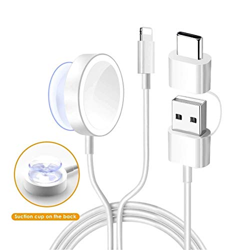Watch Charger,Welldiea 2 in 1 Watch Charger with 5ft/1.5m Portable Charging Cable Compatible with Apple Watch Series 4/3/2/1,iPhoneXR/XS/XS Max/X/8/8Plus/7/7Plus/6/6Plus/iPad4/iPad Air/iPad Mini
