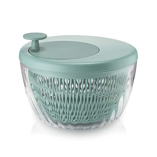 Guzzini Spin e Store Kitchen Active Design Centrifuga Insalata con Coperchio, Polipropilene, copolimero acrilonitrile-stirene, Verde, 26 cm