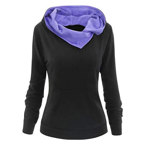 Lulupi Damen Winter Pullover Rollkragen Weihnachtspullover Hoodie Rentier Pulli Christmas Sweater Jumper Sweatshirt Baumwoll Strickpullover