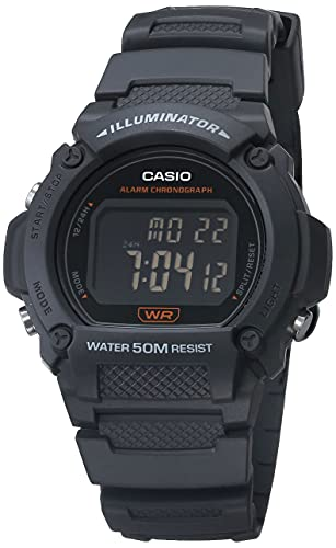 Casio Reloj de fitness de cuarzo con correa de resina, gris, 25.5 (Modelo: W-219H-8BVCF)