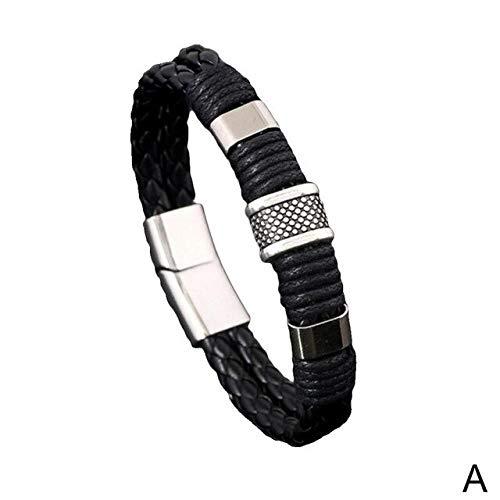 ZUOZUO Lederarmband Armband Unisex Retro Armband Manschetten Schwarz Braun Geschenk Herren Leinen Gewickelt Lederarmband