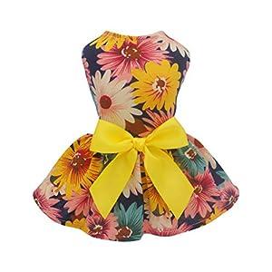 Fitwarm Pet Elegant Floral Ribbon Dog Dress Shirt Vest Sundress Clothes Apparel, Large