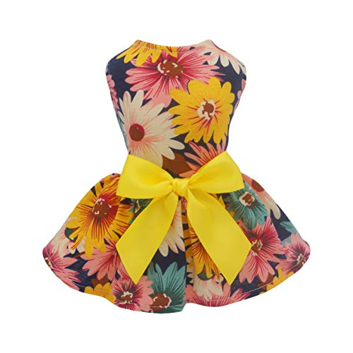 Fitwarm Elegant Floral Ribbon Dog Dress